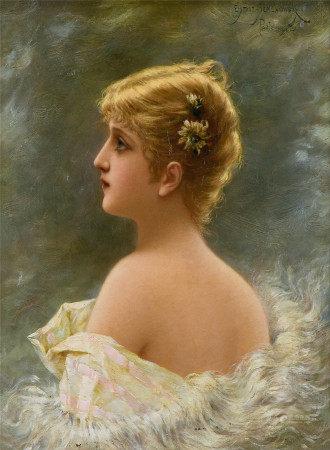ÉmileEisman-Semenowsky  少女侧面肖像 油画