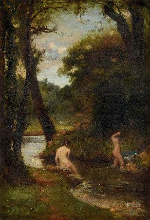 Gabriel Kerare  戏水的少女 油画