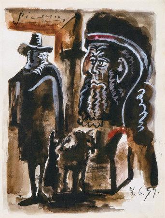 毕加索(1881-1973)  人物与狗 水粉画