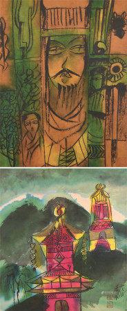 汤国  人物、风景 (二幅) 镜心 设色纸本