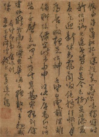 王铎(1592-1652)  书法 立轴 水墨绢本