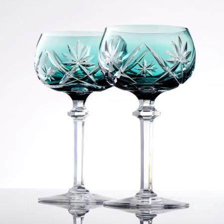 Lote de 5 copos de pé em cristal lapidado