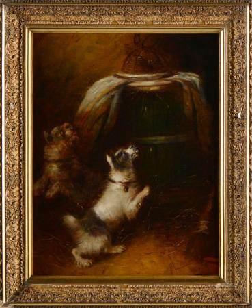 Cães num interior; Dim. aprox.: 44,5 x 35 cm.