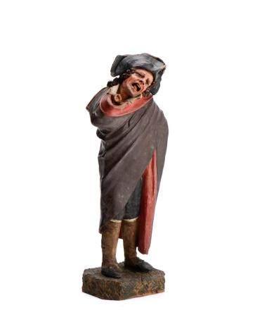 Figura popular, escultura em barro pintado, Itália