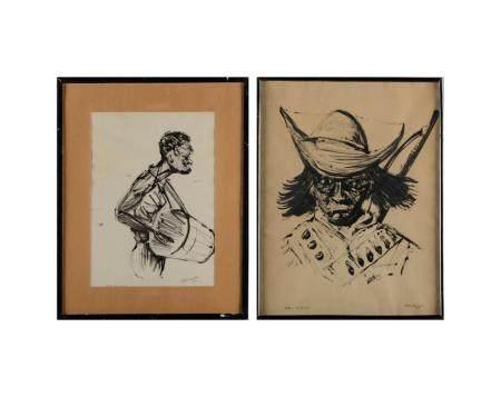 MEDEIROS SOB., 2 desenhos a tinta, assinados
