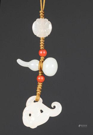 Qing dynasty Hetian White Jade Gourd Pendant