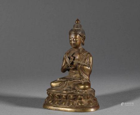 Bronze Gilded Sakyamuni Buddha in Qing Dynasty
