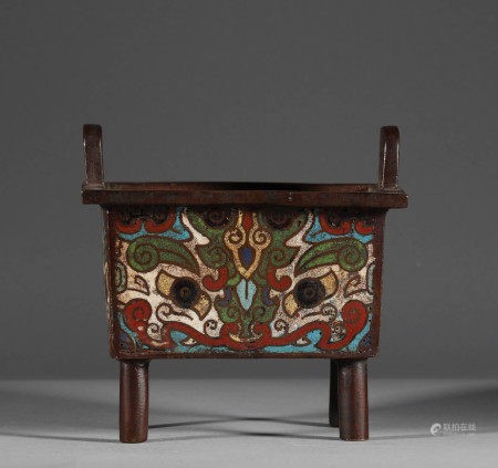 Bronze Cloisonne Four-legged Square Tripod