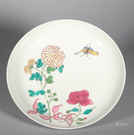 Qing Dynasty Pastel Flower Plate