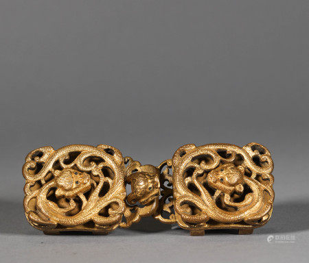 Qing Dynasty Gilt Bronze Buckle