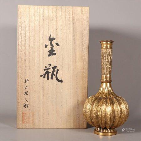 清 铜鎏金瓜棱瓶