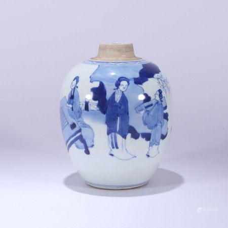 清 青花婴戏纹罐