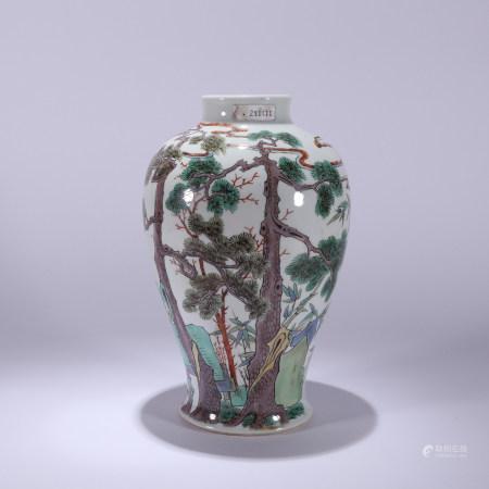 清 青花斗彩松树花卉纹瓶