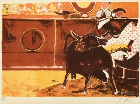 JUAN BARJOLA (1919 / 2004) Bullfighting, 1976