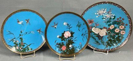 3 Cloisonné Platten. Wohl Japan, China alt. Bis 36,5 cm Durchmesser.