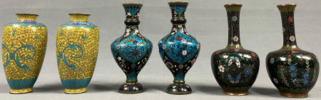 6 Cloisonné Vasen. (3 Paare). Wohl Japan antik. Bis 18 cm.