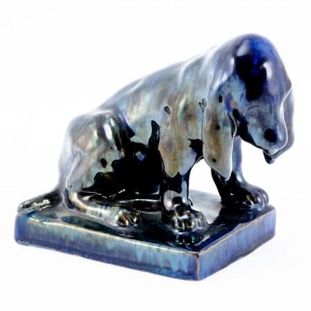 Hund als Briefbeschwerer Manufaktur Sociète Anonyme des Céramiques de Rambervillers (S.A.P.