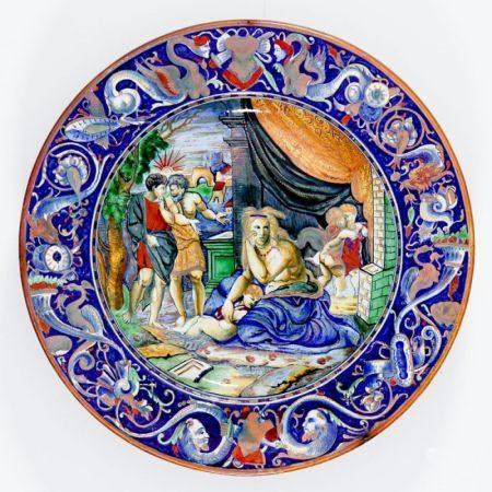 Italienischer Majolika-Teller Ende 19. Jahrhundert, wohl Cantagalli, Florenz. - Biblische Dar