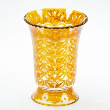 Vase auf Fuß Beyermann & Co., Haida, Glasraffinerie um 1905/1910. - Geometrische Muster - Fa