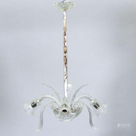 Deckenlampe Murano. Farbloses Glas, mit gedrehten Zügen. H. 85 cm, D. 50 cm. Elektrifiziert