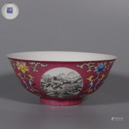 A Famille Rose Interlocking us Landscape Porcelain Bowl 粉彩缠枝莲开窗山水纹碗
