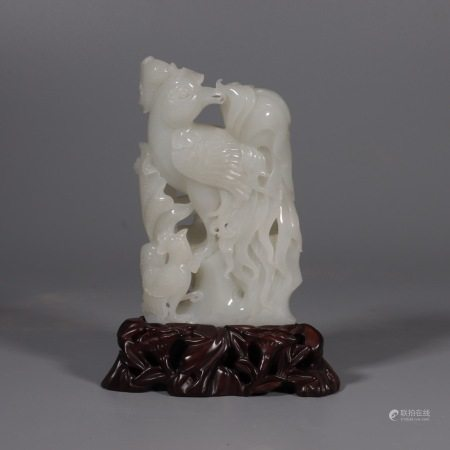 A Carved Jade Phoenix Ornament with Stand 玉摆件