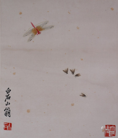 A Chinese Bugs&Dragonfly Painting, Qi Baishi Mark 齐白石 昆虫