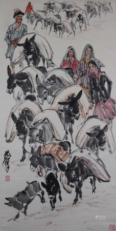 A Chinese Figures and Donkeys Painting Scroll, Huang Zhou Mark 黄胄 人物驴