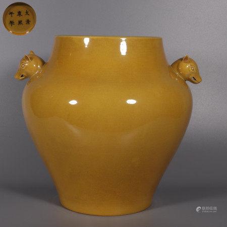 A Yellow-glazed Double Rhino-eared Porcelain Zun 姜黄釉双犀耳尊