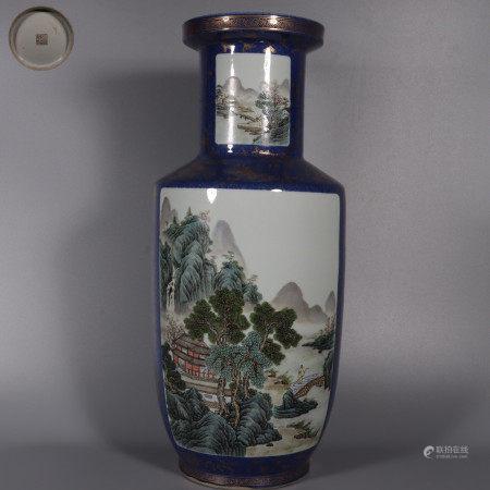 A Famille Rose Landscape Rouleau Vase  蓝地开窗粉彩山水纹棒槌瓶