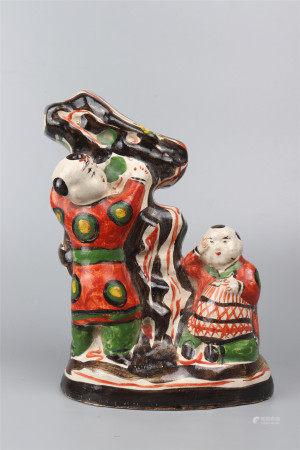 An Enamlled Porcelain Fortune Boys Ornament 彩绘招财童子