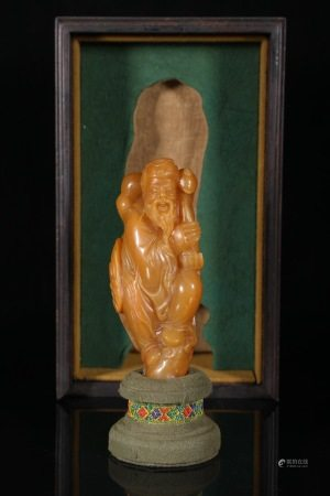 A Tianhuang Stone Carved Fu&Shou Figure Ornament 寿山田黄 福禄寿
