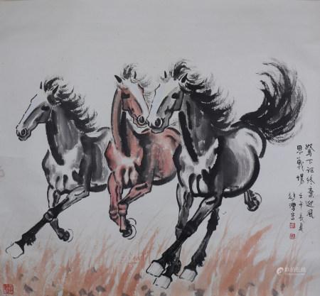 A Chinese Horses Painting, Xu Beihong Mark 徐悲鸿 奔马图