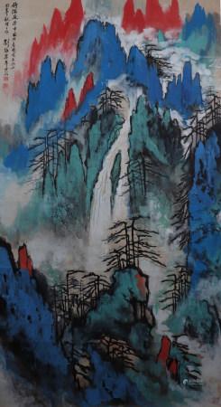 A Chinese Landscape Painting, Liu Haisu Mark 刘海粟 泼彩山水