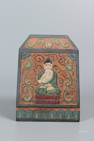 A Painted Buddha Box and Cover 彩绘盖盒