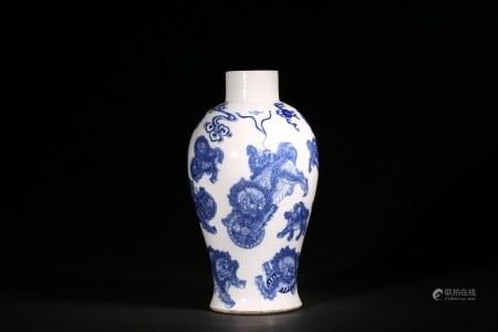 清咸豐 青花獅紋觀音瓶