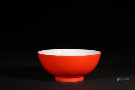 清乾隆 珊瑚紅釉碗