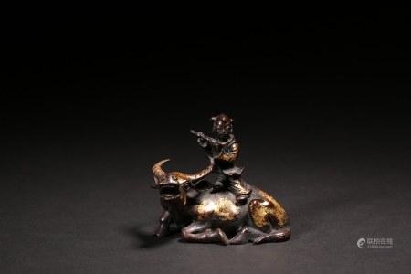 銅漆金牧牛童子水滴