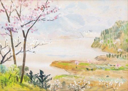 李澤藩 水彩 鏡框
