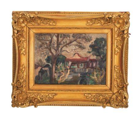 張萬傳 林家花園 油畫 鏡框