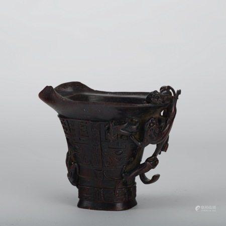 清代 紫檀 仿犀角杯