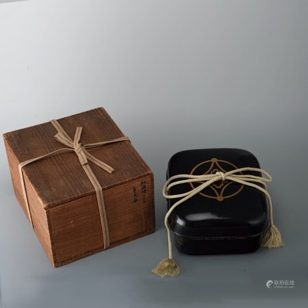 日本 蒔繪黑漆盒
