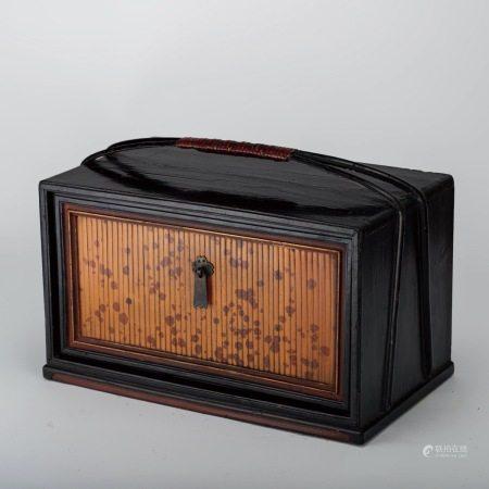 清代 湘妃竹 黑漆提盒