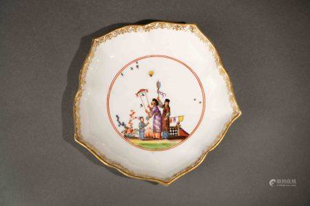 18世紀 德國麥森彩繪描金東方人物稜形盤