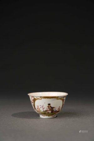 18世紀 德國麥森彩繪描金東方人物茶杯