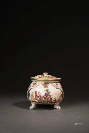 18世紀 德國麥森彩繪描金東方人物獸足奶油罐