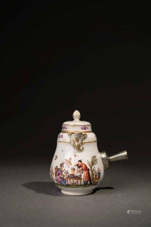 19世紀 捷克仿麥森彩繪描金東方人物巧克力罐