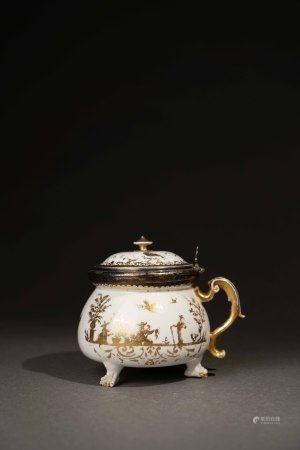 18世紀 麥森白瓷描金東方人物獸足糖罐