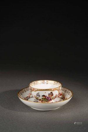 18世紀 德國麥森彩繪描金東方人物杯盤組