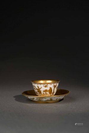 18世紀 麥森白瓷東方人物描金杯盤組